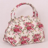 2013 Summer New Fashion Ladies' Small Handbag Vintage Ruffle Print Floral Cloth Bags Pretty Flower Fabric Tote