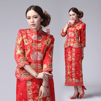 free ship 2013 bride evening dress embroidery dragon gown the bride cheongsam dragon gown skirt gold and silver red dress coat