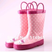 New Arrival  Hello  kitty Child Rain Boots, Pink Rain Shoes For Kids , Free Shipping