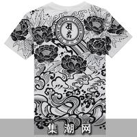 spring t shirt tattoo quaity flower short-sleeve T-shirt male wukong this