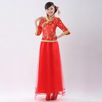 free ship Evening dress married the bride long design 2012 winter long-sleeve three quarter sleeve cheongsam fashion