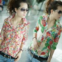 2013 summer women's chiffon shirt summer floral print shirt female top chiffon short-sleeve shirt slim