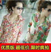 2013 top basic shirt chiffon shirt vintage floral print shirt female half sleeve shirt t-shirt