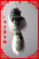 free shipping 2pcs Key chain fox fur car fashion keychain