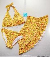 Spa back button piece set bikini dress swimwear
