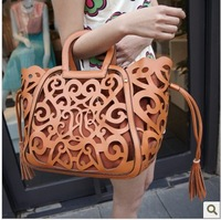 Spring 2014 New Cutout Carved Women Shoulder Handbag Girls Hollow Tassel Candy Picture-in Bag 14 Color