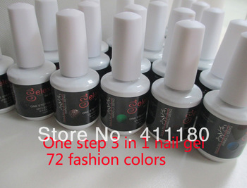 New arrival ! 15ml Super shine and quality Soak off one step 3 in 1 uv/led nail gel polish 8 pcs/lot Free shipping