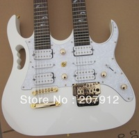 2013 new arrival top quality 6/12 strings guitar double neck 7V White wholesale retail sales promotion Electric Guitar