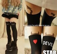 Free Shipping Explosion Models Japanese Harajuku Cat/Little devil/Bunny Stitching Fake Stockings Tattoo Tights