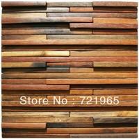 Natural wood mosaic tile rustic wood wall tiles NWMT003 kitchen backsplash wood panel pattern tile interlocking mosaics