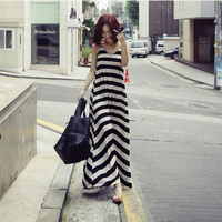 2013 women's black and white stripe dresses bohemia long dress summer braces skirt Free Shipping