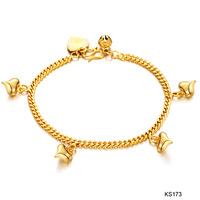 Fashion Jewelry 18k Gold Love Bell Women's Bracelet Free Shipping  1PCs for retailer Adjust Length For Bracelet  ks173