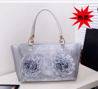 Free shipping!! 2013 female bags gauze rose beach bag knitted shoulder bag plate picture package double flowers  and tote bag