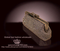 Drop Ship NEW 2013 Slap up Unique Gold Bling Evening Party lady bag Luxury rhinestone crystal Wedding Clutch of Bride Mini Chain