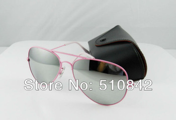 1 pcs free shipping New fashion Men's/Women's brand sunglasses Designer Sunglasses Pink frame mirror Lens glasses. size 58mm(China (Mainland))