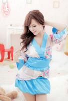 FreeShipping Sexy Japanese Kimono Cute Cherry Print Shirt + Girdle + Skirt  Temptation  Game Uniforms CS011