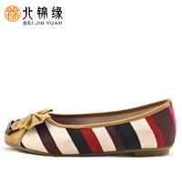 Cotton-made 2013 beijing shoes spring and summer round toe cow muscle stripe bow shoes outsole shoes