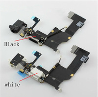5pcs/lot Headphone Audio Jack Dock Charger Connector Flex Cable Ribbon for iPhone 5 5G black&white colour free shipping
