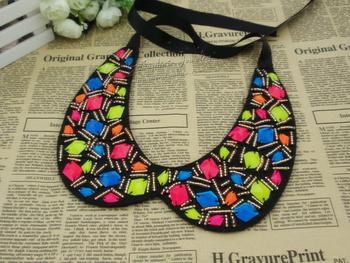 Free shipping Fashion fashion neon color beading false collar necklace collar