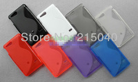 Free Shipping!! Best Selling Xperia Go Antiskid S Line Wave Soft TPU Gel Back Case Cover for Sony Xperia Go St27i, SON-033