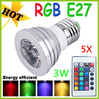 Retail 5pcs RGB 3W E27 AC85~265V LED Bulb Light Spot Light LED Light Lamp with 5years Warranty-------------Limited Time Offer