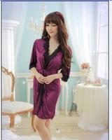 FreeShippingFashion Black Sexy Sleepwear Sexy Lingerie Dress deep V neck Noble Lace Purple bathrobe Pajamas   Black EdgesCS027
