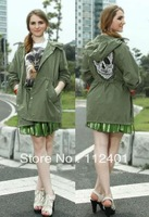 New Autumn Women Button Big Skull Hooded Army Green Windbreaker
