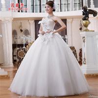 Yarn 2013 sweet princess feather one shoulder flower strap bride wedding dress