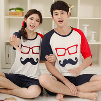 2013 summer lovers cotton knitted sleepwear men and women sleepwear lounge short-sleeve shorts sleep set