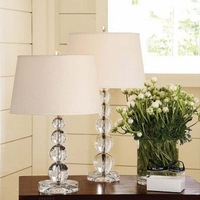 Luxury k9 crystal table lamp rustic fabric bedroom bedside lamp