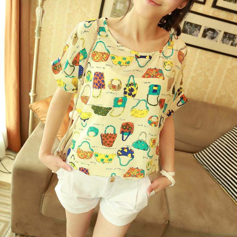 (free shipping) A 4725 short-sleeve chiffon shirt fashion print loose batwing sleeve chiffon top pullover female(China (Mainland))
