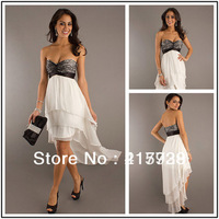 WH073 Brand New Sleeveless Free Shipping! Sweetheart Front Short Long Back Off the shoulder Chiffon Homecoming Prom Party Dress
