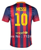 free shipping 13/14 best quality Players version spain League home #10 MESSI soccer jersey Football Uniforms , Embroidery logo ,