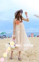 Ladies Sexy Bohemia Chiffon Swing Tiered Skirt Flower Decor Strapless Long Skirt Free Shipping Wholesale # 2513020