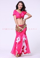 belly dance dancing bandage top+dual color crimping skirt+coins hip scarf costume 3pcs/set stage wear clothing