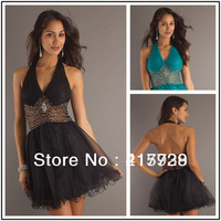 New Free Shipping Stunning Halter Beads Mini Short Organza Cocktail Prom Party Dress WH064