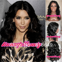 Human Hair Wigs Wholesale Kim Kardashian Long Wave Sexy Black 100%human hair Indian Remy Lace Front Wigs