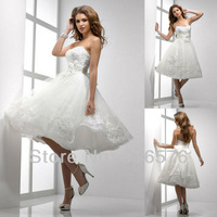 Stylish A Line champagne dresses Sweetheart with crystal Tea Length Applique beaded wedding dress 2013 Bridal Gown