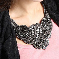 Min Order $10 Hot Sele Black Bohemia Vintage Women False Collar Choker Necklaces Handmade Beads Ribbon Retro Collar Necklace