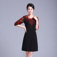 2013 summer high quality plus size one-piece dress elegant slim half sleeve embroidery women's casual dress