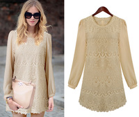 Free Shipping, 2013 Solid Light Apricot Scallop Neck Long Sleeves Chiffon Embroidery Women OL Short Dress