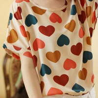 Free Shipping 2013 Women's Loose Fit Batwing Short Sleeve Heart Print Chiffon Tops T-shirt,Cute Blouses,Shirts,Tees,T shirts