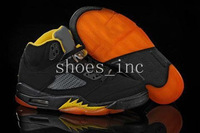 Free Shipping Wholesale New Arrival V 5 Retro Men's Basketball Sport Footwear Sneaker Shoes - Black / Orange / Yellow