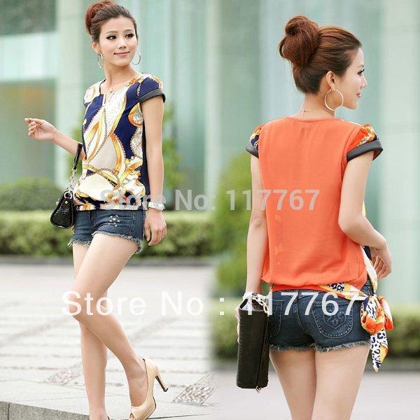 Оптом китайские блузка с коротким рукавом-плееры с самым высшим