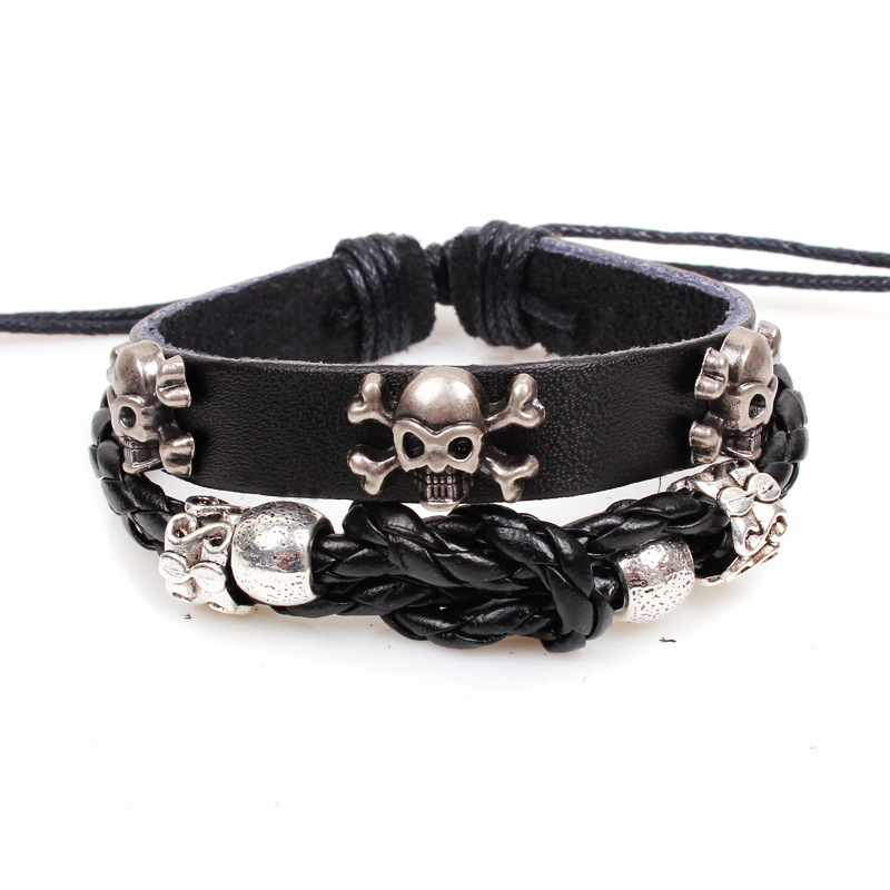 Min.order is $10(mix order)Fashion leather bracelet/men's jewelry/Human skull Alloy/leather cuff/Free Shipping(China (Mainland))
