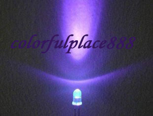 500pcs/Lot, 3mm Purple Violet UV Round Bright Water Clear LED Leds Lamp Light 2-Pin Free Shipping