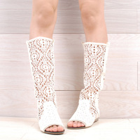 2013 spring and summer boots net boots rhinestone open toe boots cow muscle outsole high-leg low-heeled boots cutout cool boots