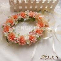 Corolla rose bridal crown corolla silk flower hair accessory long design