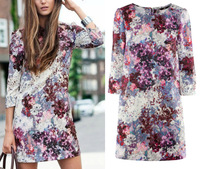 Free Shipping, 2013   Elegant Pencil Floral Printed 3/4 Sleeve Zipper OL Dress Women Casual Short Mini Dress S M L XL