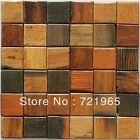 Natural wood mosaic tile rustic wood wall tiles NWMT016 kitchen backsplash wood panel 3D wood pattern tiles mosaics
